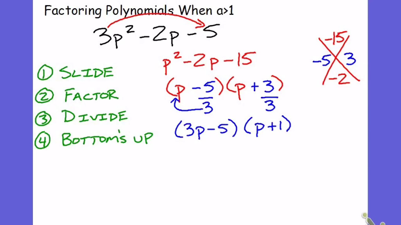 Factoring Quadratic Trinomials Slide And Divide Mr Williams